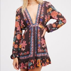 Free People Violet Hill Gray Floral Tunic Top